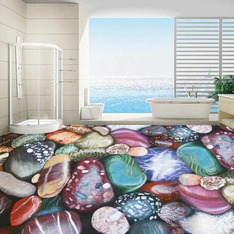 Free shipping Naked eye 3D color pebble floor stickers waterproof thickened flooring mural living room walls bathroom wallpaper<br>