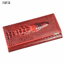 Wristlet Three Fold Wallet Female 3D Crocodile Purse Alligator Coin purse Women Wallets Lock Split Leather Long Clamp for Money(China)