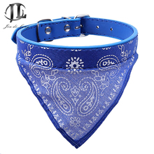 5 Piece / Lot New Cheap Top Quality PU Leather Triangular Scarf Shape Cute Flower Printing Pets Dogs Collar Puppy Necklace(China)