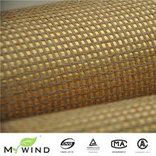 gold grasscloth textures natural paper weaving hotel wallpaper for living room home decoration
