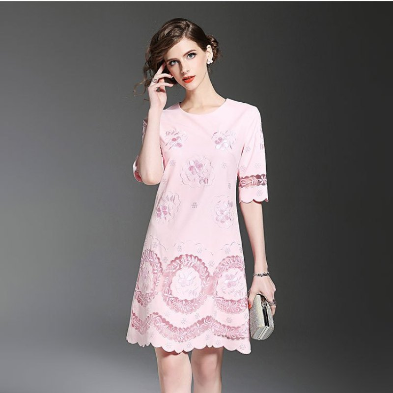 hot sale loose dresses 2017 new Europe Spring summer Casual Dress XXXL fashion Women comfortable Clothing Embroidery party dress(China (Mainland))