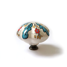 2pcs 48mm Euro Hand-painted Country Leaf Ceramic Cabinet Knob Cupboard Furniture Drawer Knobs Handle Pulls Kitchen