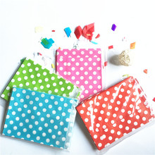New Arrive 50 Pcs Eco-Friendly Polka Dot Paper Bags Wedding Favors Party Candy Cake Sweets Baby Shower Gift Bag Free Shipping