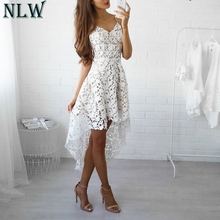 Buy NLW White Lace Summer Dress Hollow Dovetail Sexy Dress 2018 Women Sleeveless V Neck Strap Midi Dress Beach Party Vestidos for $19.24 in AliExpress store