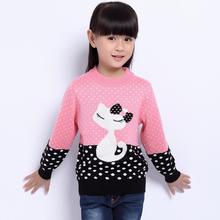 New 2016 Children's Sweater Spring Autumn Girls Cardigan Kids O-Neck Sweaters Girl's Fashionable Style outerwear pullovers(China)