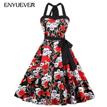 Enyuever Floral Print Skull Dress Plus Size Robe Pin Up 50s Swing Gothic Halloween Party Casual Rockabilly Vintage Dress Summer(China)