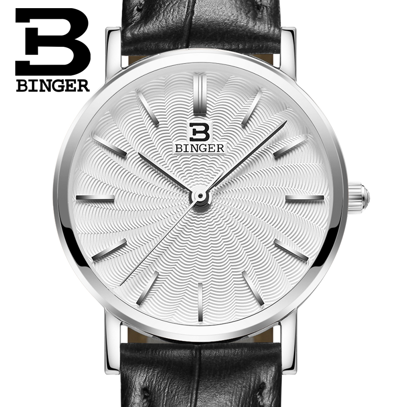 Switzerland BINGER women watches luxury brand quartz  genuine leather strap ultrathin Wristwatches Waterproof B3051W-4<br>