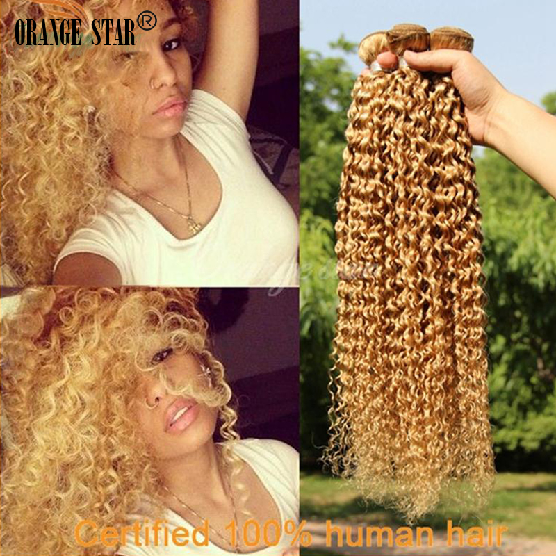 3PCS Brazilian Curly Blonde Hair Extensions Honey Blonde Human Hair Weft Curly Virgin Blonde Hair Weave Cheveux Tissage GJ304<br><br>Aliexpress