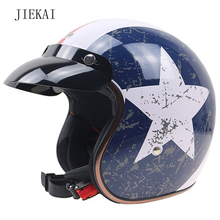 JIEKAI510 Motorcycle Vintage Helmet DOT Standard 3/4 half helmet Motocross Open Face Safe Riding Scooter Headpiece with Visor(China)