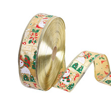 Deluxe 2 Inch Wide by 10-Meters Snowman Wires Decorate Christmas Trees Sheer Glitter Ribbon
