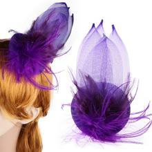 Girl Women Mini Feather Hair Pin  Plume Hat Clasp Purple Violet Decoration Adorable Hair Accessories Headwear 2017 Hair Clip