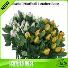 Softball Baseball Roses made from real softballs! Softball Baseball leather roses bouquet for sports fun(China)