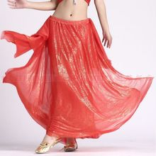 Women's Belly dance costume dress bronzing silk ear skirt women's gypsy belly dancing long skirts indian silk skirt