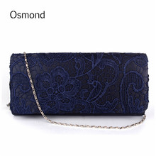 Osmond Bridal Wedding Lady Satin Evening Bags Lace Floral Clutches Women Messenger Shoulder Bag Pouch Purse Party Girl Handbags