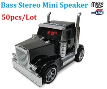 50pcs/Lot Bestselling New Mini Truck Car Model Portable Music Speaker USB TF FM For MP3 MP4 Phone Tablet PC Mini Sound Box