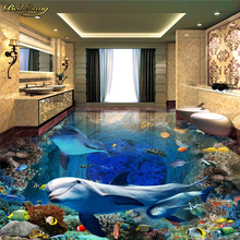 beibehang Custom photo wallpaper floor painting floor affixed to the submarine world dolphin mother and son deep 3D stereo floor