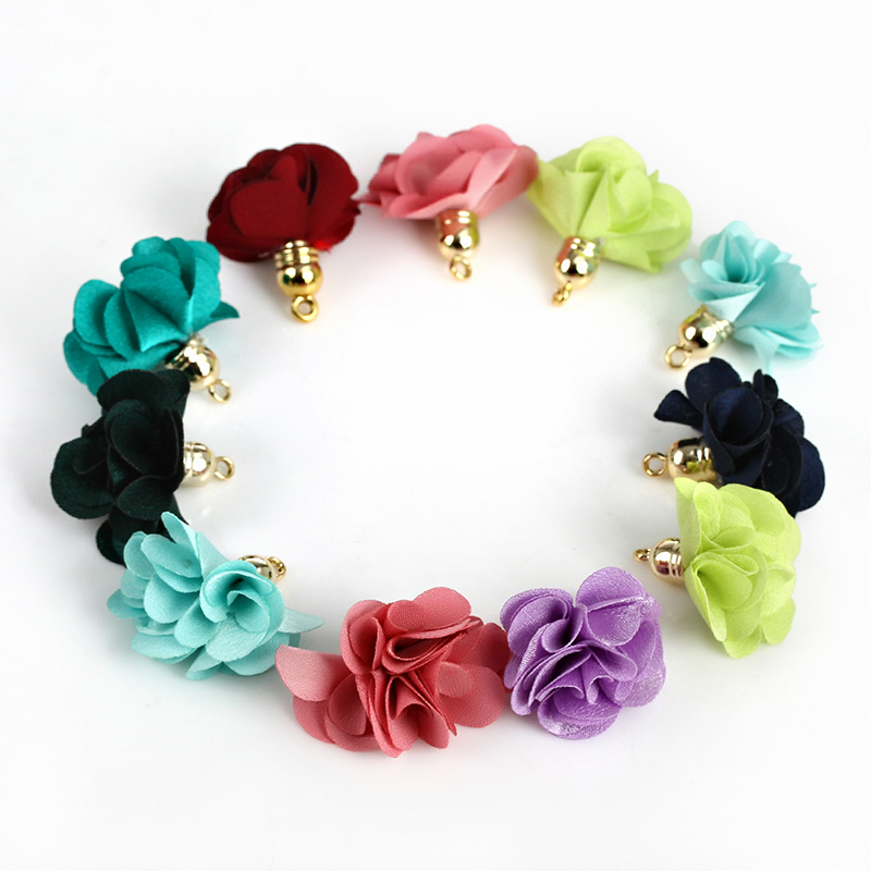 100pcs Mixed Color Handmade Silk Satin 27mm Flower Tassel Pendants Fit Various Jewelry Material(China (Mainland))
