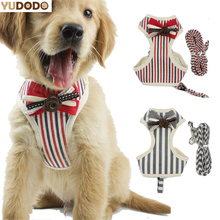 Double Mesh Cute Dog Leash Harness Yorkie Rose Bowknot Cotton Collar For Puppy Dog(China)
