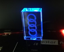 4GB 8GB 16GB 32GB  audi Car Logo usb flash drive Transparent Metal Crystal pendrive USB 2.0 Memory Drive Stick Pen drive