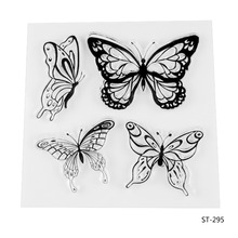 Kinds of Butterflies Design Silicone Transparent Stamp Clear Stamps Set for DIY Scrapbooking Photo Album Decoration Supplies(China)