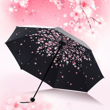New qualified Manual Open close Black Coating 3 Fold Sun Protective Cherry blossoms Sunny Umbrella