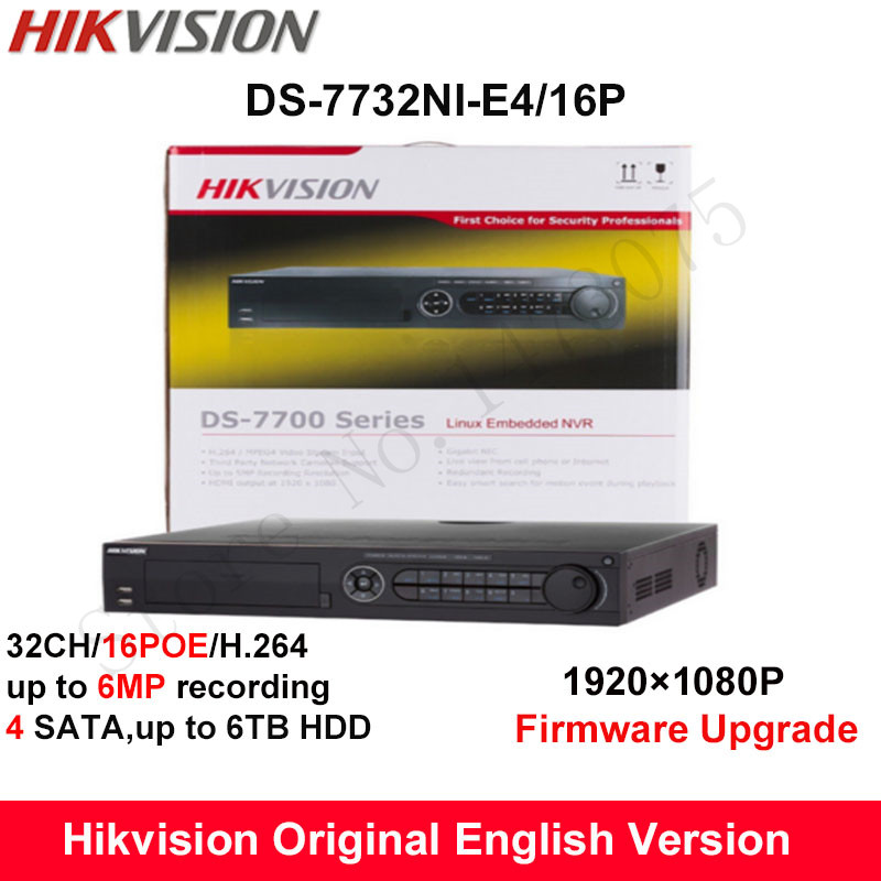 stock Hikvision Original English NVR DS-7732NI-E4/16P Embedded Plug&Play NVR 32CH 16POE 4SATA 6MP connect 32 IP Camera