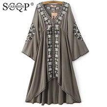 SCQP FASHION Free Shipping Women Vintage Ethnic Flower Embroidered Tunic Long Dress Hippie Boho People Asymmetric High Low Dress