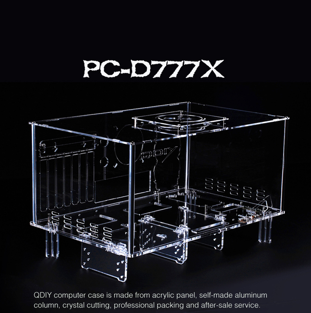 Aliexpress Com Buy Qdiy Pc D777xm Horizontal Mircoatx Htpc Acrylic