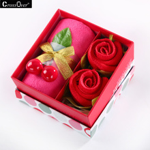 Present box Wedding Rose flower shape Superfine fiber Hand Towel Face Towel business promotional birthday Full Moon Party Gifts(China)