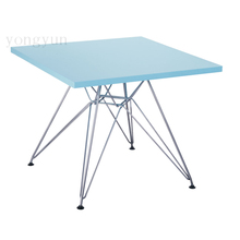 MDF modern leisure table kids learn Children's toys table Square table MDF top chromed steel leg(China)