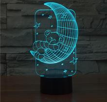 Lamparas 3D Lamp Led Night Light Mood Lamp for Holiday Lamp 3D Bulbing Light USB Table Lamp Bear Hug Moon Color Changing As Gift(China)