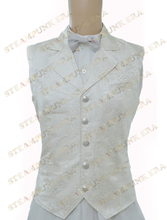 Free Shipping  Halloween Costume Gentle White Jacquard Cloth Single Breasted Victorian Steampunk Waistcoat