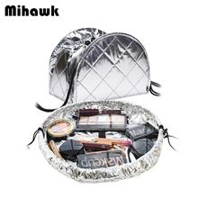 Drawstring shrink Women's Cosmetic Bag Travel Toiletry Makeup Case Beautician Organizer Pouch Accessories Supplies Products(China)