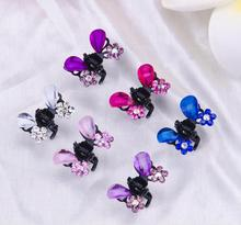 12pcs/lot Rhinestone alloy butterfly claw clip hair accessory Cute Crystal Flower Shape Mini Hairpin Girls Kids Hair Accessories