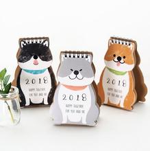 2018 Cartoon Shiba Happy Together Mini Desktop Paper Calendar dual Daily Scheduler Table Planner Yearly Agenda Organizer(China)
