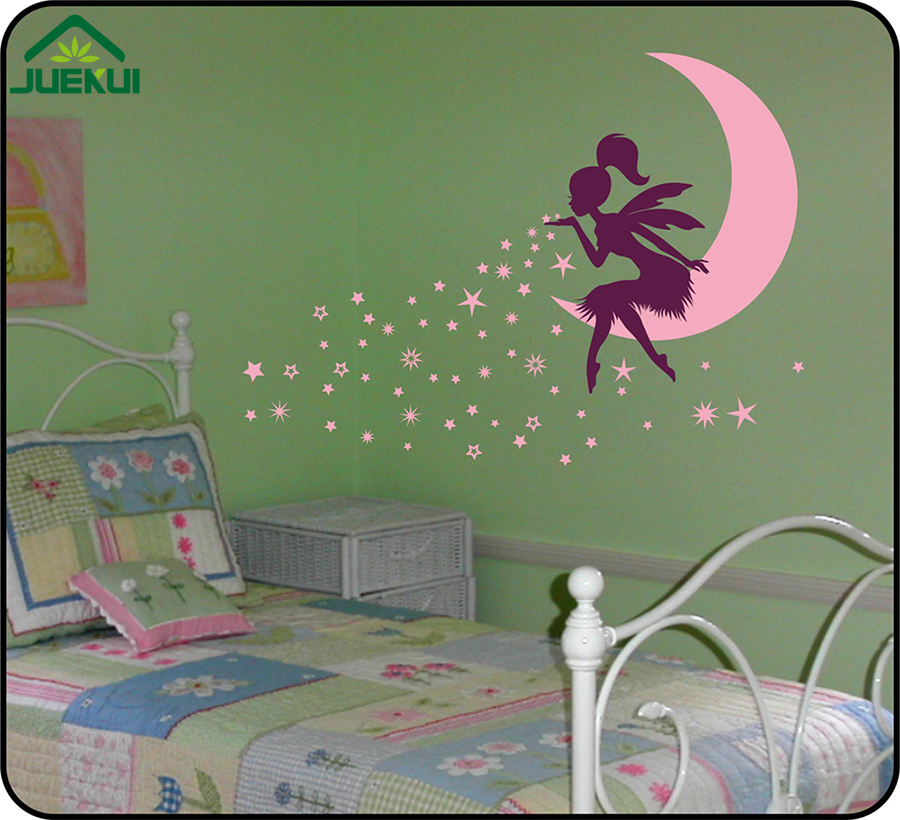 HTB1smlgewb.PuJjSZFpq6zuFpXaa - Large Size Vinyl Wall stickers Fairy Moon Stickers for Kids Rooms - Free Shipping
