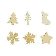 50pcs Random Christmas Decor Xmas Wood Chip Tree Ornaments Hanging Pendant Gifts Festival Party Wholesale MS145