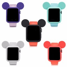 CRESTED Cute cartoon Mouse ears Soft Silicone protective case for Apple Watch 42 mm/38 iWatch series 1/2 Colorful cover shell(China)