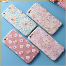 Floral Flowers Daisy Plant Sunflower Pattern Case for iPhone 6 6S 6 Plus 6S Plus 7 7 Plus Soft TPU Cases Rhinestone Capa MN258