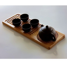 1Pcs Natural Bamboo Gongfu Tea Tray Chinese Serving Table 30*12cm Kitchen,Dining & Bar(China)