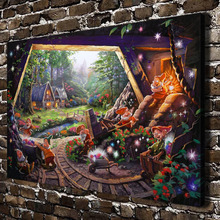 H1385 Thomas Kinkade Snow White Seven Dwarfs ,HD Canvas Print Home decoration Living Room Wall  pictures Art painting