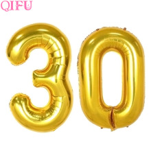 QIFU 32 40inch Gold Foil Balloons Happy Birthday Decoration Aluminium Digit Number Balloon Birthday Party Supplies Wedding Decor
