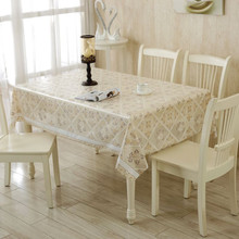 Gold Waterproof  PVC Plastic Round Rectanle Table Cloth Home Wedding Table Table Cover Hollow out Flower Print Tablecloth