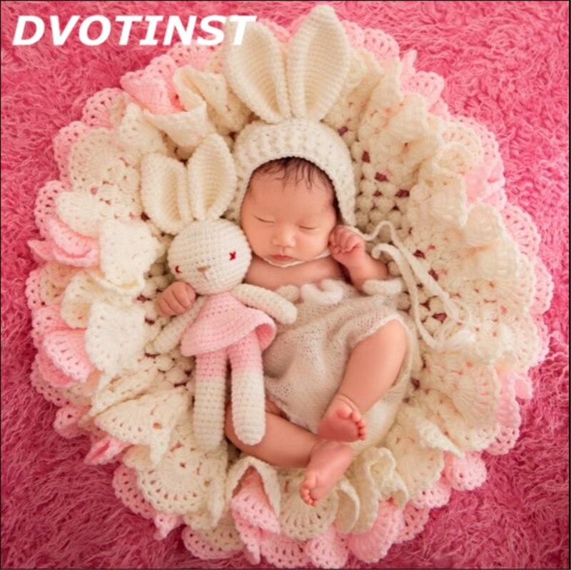 Baby Photography Props 1pc Hat+1pc Blanket+1pc Doll 3pcs Set Newborn Fotografia Accessories Infantil Studio Shooting Photo Props<br>