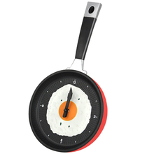 Frying Pan Clock with Fried Egg - Kitchen Cafe Wall Clock - Red