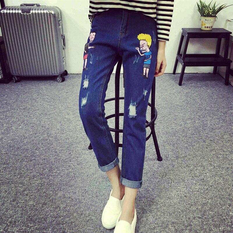 Free shipping women spring autumn denim pants cartoon print holes jeans ladies full length jeans blue pants calca feminina 5XLОдежда и ак�е��уары<br><br><br>Aliexpress