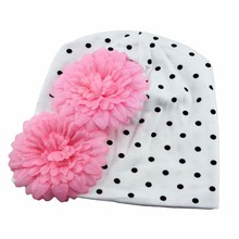 New Lovely Baby Headwear Candy Beanie Hat Big flower Beanies Toddler girls hat Infant flower beanie hat Cotton cap