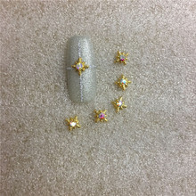 10 pcs/bag Golden New Style A Diamond Jewelry AB Color Diamond 3d Nail Art Decoration Ornament Nail Sticker Paste The Nails NO19(China)