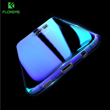 FLOVEME Luxury Blue Aurora Gradient Hard Plastic Case For Samsung Galaxy S7 S7 Edge S8 S8+ S6 S6 Edge Clear Light Plating Cover