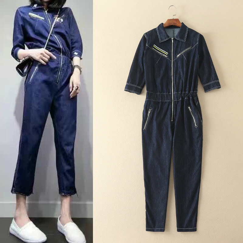 The new spring and summer 2017 fashion womens high quality  Lapel  zipper denim Jumpsuit Одежда и ак�е��уары<br><br><br>Aliexpress